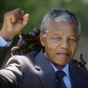 12 Feb 1990, Cape Town, South Africa --- Nelson Mandela on Day After Release --- Image by © Patrick Durand/CORBIS SYGMA